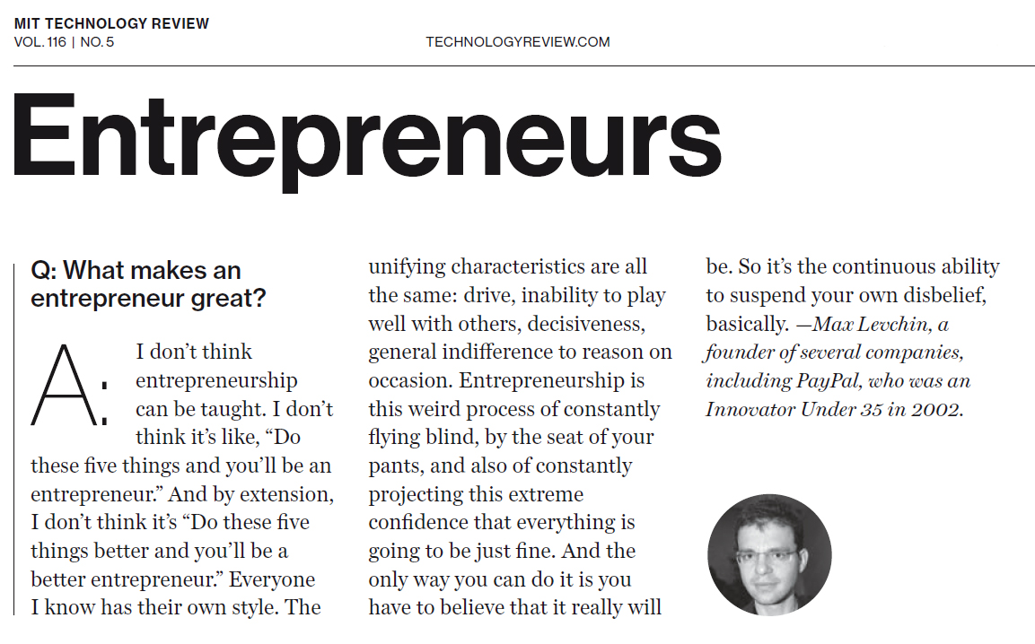Levchin on Entrepreneurship