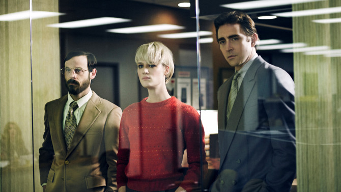 Scoot McNairy as Gordon Clark, Mackenzie Davis as Cameron Howe and Lee Pace as Joe MacMillan - Halt and Catch Fire _ Season 1, Gallery - Photo Credit: James Minchin III/AMC