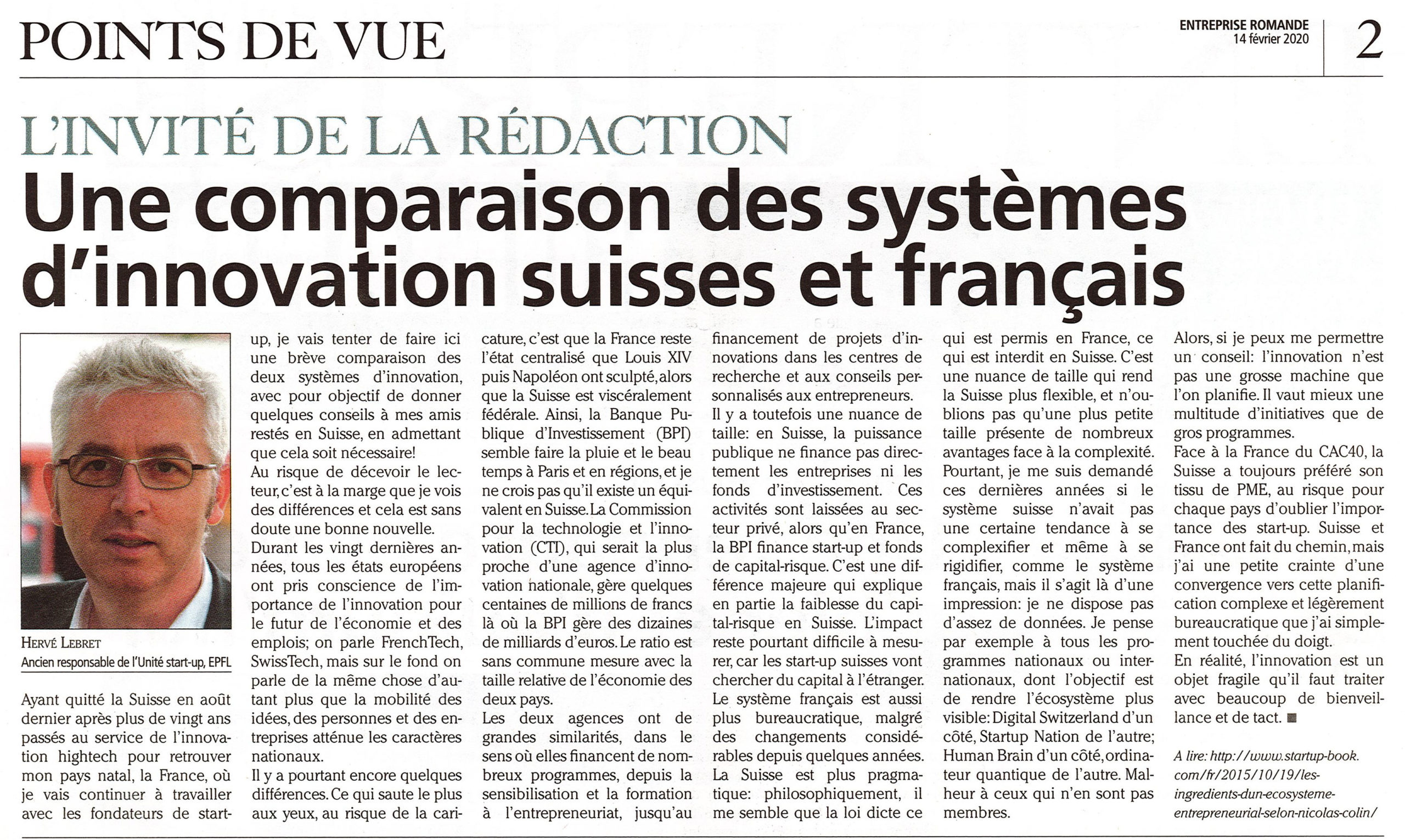 A comparison of the Swiss and French innovation ecosystems